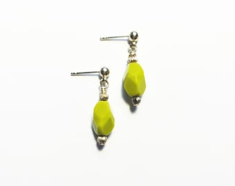 Petite and Dainty Chartreuse Earrings - oval nugget - faceted - sterling silver