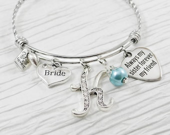 Bride Gift- Gift for Bride from Maid of Honor- Expandable Bangle Bracelet- Personalized Gift for Bride-Always my sister forever my friend
