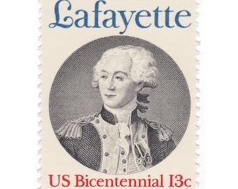 10 Unused Vintage Postage Stamps - 1977 13c Marquis de Lafayette - Item No. 1716