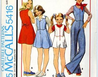 1970s Girls Dress, Jumper, or Jumpsuit Pattern Size 7