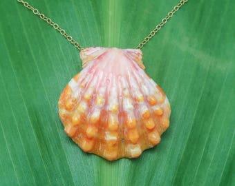 Large orange and pink sunrise shell necklace