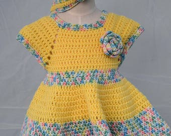 Crocheted Pinafore Dress: Size 12-18 months
