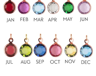Add-on Medium rose gold Birthstone charm, to add onto existing orders only!, bridesmaid gift, mothers day gift