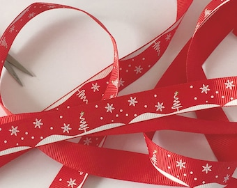 5m Christmas Grosgrain Ribbon Red Scandinavian Style Ribbon 16mmx5m Nordic Style Reindeer Gift Packaging Christmas Holiday Gift Wrapping