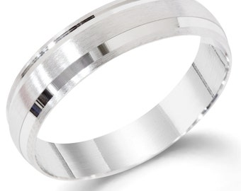 Mens 14K White Gold Brushed Wedding Band Ring 6 MM