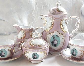 Marie Antoinette Tea Set, 7 Pieces, Chic Tea Set, Marie Antoinette Teacup, Customizable Tea Set, Shabby Chic Teacup, Kitsch Tea Set