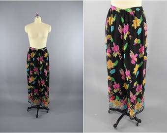 Vintage 1990s Palazzo Pants / Black Floral Chiffon / Hawaiian Floral Print High Waisted Pants / 90s Wide Leg Trousers / Size Large L