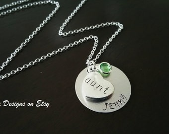 Handstamped Aunt Personalized Crystal Birthstone Customized Gift Necklace