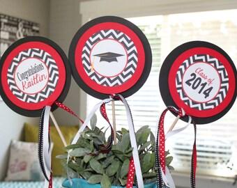 GRADUATION Party Centerpiece Sticks {Set of 3} You Pick Colors (School Colors) - Party Packs Available