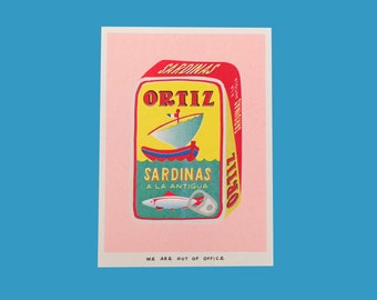 A risograph print of a can full of sardinas