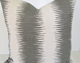PILLOWS Grey Throw Pillow Covers 20x20 Ikat Striped Gray Throw pillow Covers Home and Living Decor