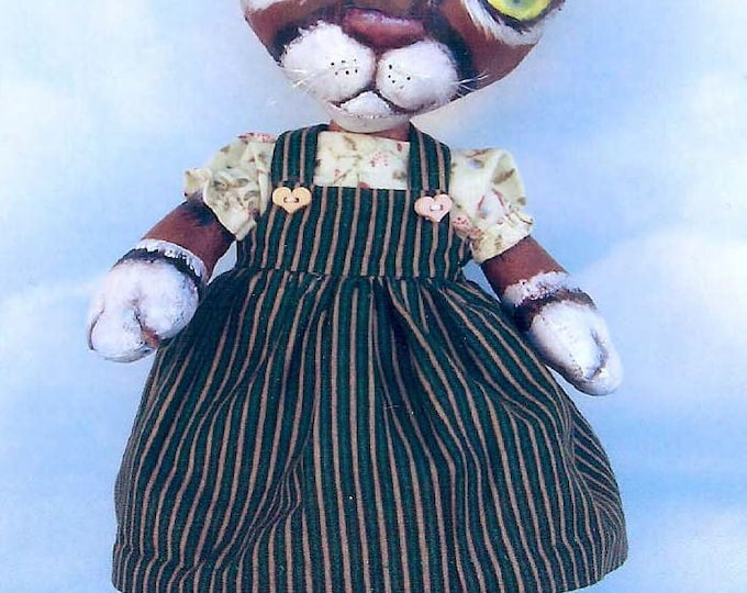 """SE373 - Little Kitty,  12"""" Painted Fabric Cat Cloth Doll Pattern - PDF Download by Susan Barmore"""