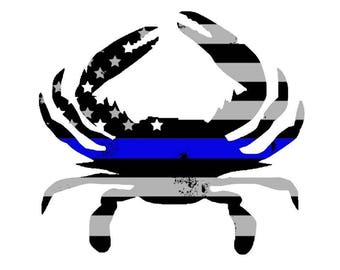 Blue Line Maryland Crab Car decal
