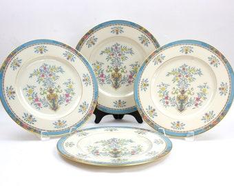 Dinner Plates, Set of 4, Lenox Fine China,  Lenox Blue Tree, Wedding or Bridal Shower Plates, c1974, Vintage China & Ceramics