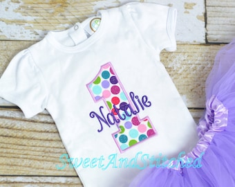 Polka Dot First (1st) Birthday Outfit - polka dot First birthday shirt!  cake smash outfit girls