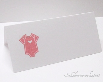 Table card with stamped Babysuit (6 pcs)