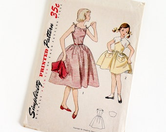 "Vintage 1950s Girls Size 7 Sun Dress and Bolero Simplicity Sewing Pattern 4275 Complete / b25 w22.5"" / Spaghetti Straps Full Gathered Skirt"