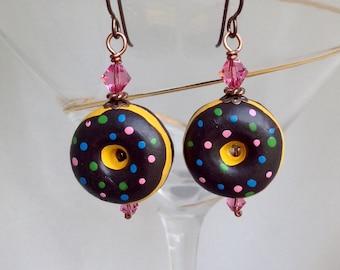 Chocolate sprinkle donut earrings