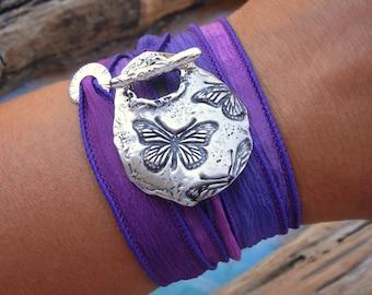 Butterflies Jewelry Butterfly Bracelet, Butterfly Silk Wrap Bracelet by HappyGoLicky Jewelry, CLICK to see 30 Designs in Sterling Silver