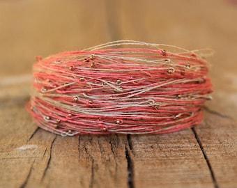 Bracelet Pink Beige Delicate Jewelry Natural Organic Magnetic Bracelet