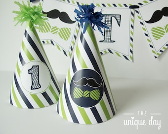 Little man birthday party - party hat - mustache birthday - printable - PERSONALIZED - DIY // MUST-09
