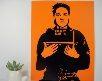 Elvis Presley Mug Shot Portrait Pop Art Stencil Graffiti // Fine Art Wall Prints for Home Decor