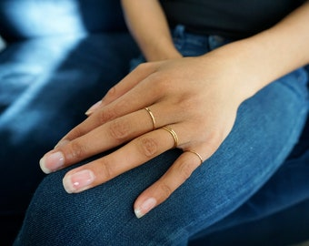 """Thin Gold Rings -  Stacking Rings - 14K Gold Filled Hammered Stack Rings - Set of 3 Gold Delicate Rings - Knuckle Ring / """"Pretty Girl Ring"""""""