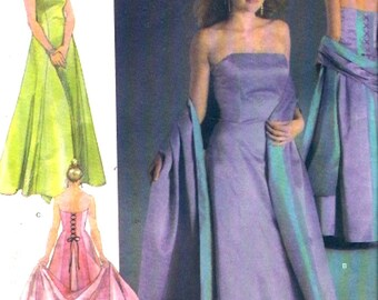 Jessica McClintock dress and shawl back tie detail plus size sewing pattern Simplicity 4655 18W to 24W UNCUT