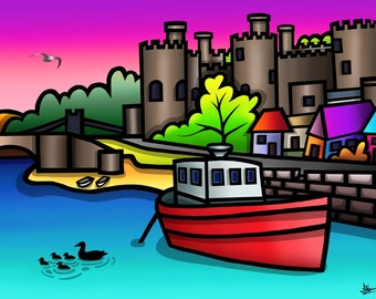 Conwy Castle - colourful fine art print by Amanda Hone