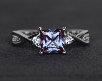 princess cut alexandrite ring gemstone ring sterling silver color changing princess engagement ring June birthstone