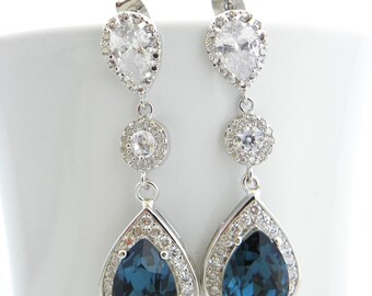 Navy Blue Earrings, Montana Blue Wedding Earrings, Cubic Zirconia Earrings, Swarovski Bridal Earrings, Long Wedding Teardrop Earrings, Bride