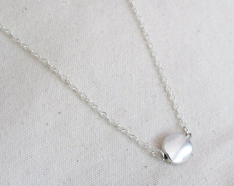 Silver Coin Necklace - Everyday Necklace - Coin Necklace -  Dainty Necklace - Simple Necklace - Charm Necklace - Gift Necklace