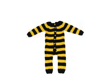 Hand Knitted Bumble Bee Baby Romper Costume, %100 Wool