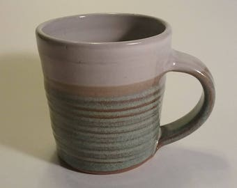 Handmade pottery stoneware coffee mug 10oz white rutile blue by David Stellman Pottery