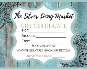 Digital Gift Certificate for The Silver Lining Market