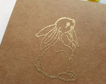 New Baby Card, Baby Shower Card, Little Bunny Card, Easter Bunny Rabbit Card, Gold Embossed Card, Kraft Card, Greeting Card