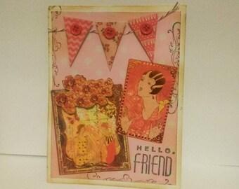 Hello Friend Handmade Greeting Card, Thinking of You,  Birthday Card