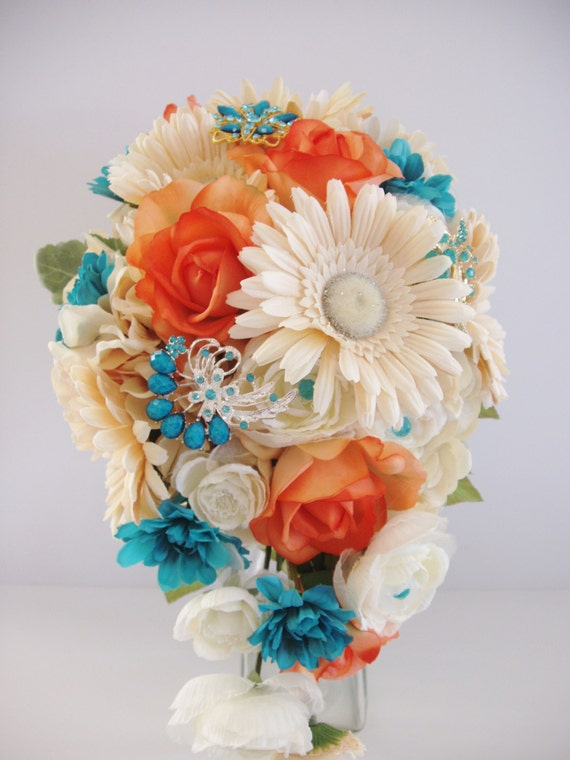 Silk BROOCH Bouquet ON SALE Turquoise Blue Coral Wedding