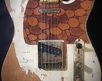 Pickguard leather vegetable tanned pebbled Tan/Brown for Fender Telecaster color pattern