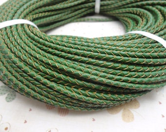 50 METERS 3mm green Braid REAL LEATHER necklace cord / one role