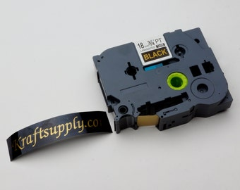 "18mm (3/4"") Laminated Gold on Black Tape for P-touch Printer (26.2')"
