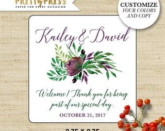 Flower Wedding Stickers, Wedding Welcome Stickers, Floral Wedding Gift Tags, Wedding Gift Label, Personalized Labels, Favor Stickers