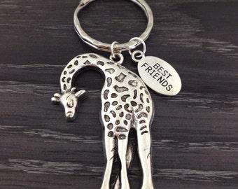 Best Friends Giraffe Keychain, Giraffe Keyring, Animal Jewelry, Safari Jewelry, Zoo Animal Keychain, Silver Keychain, Giraffe Lover Gift