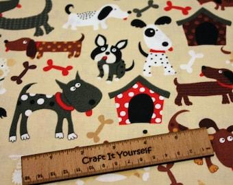 Dogs 100% cotton fabric 44 inch / 110cm Doggy Bone Kennel