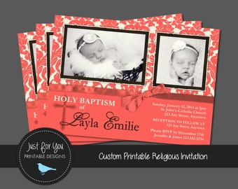 Damask Baptism Invitation or Birth Announcement - Confirmation, First Communion, Baby Dedication, Christening, Religious - Coral