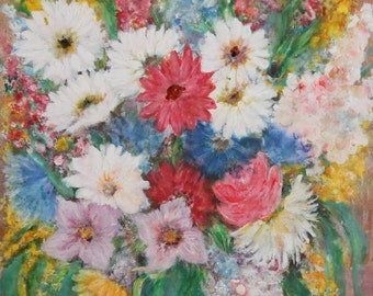 1990 impressionist floral still life oil painting