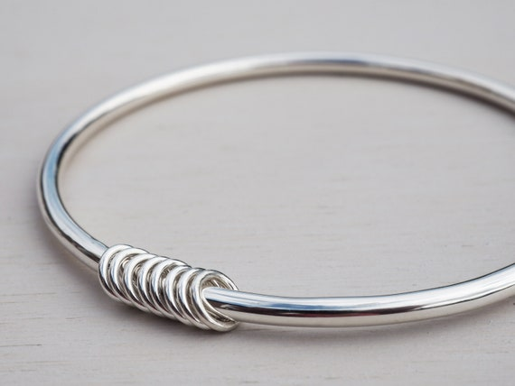 Solid Silver Bangle & Rings, Sterling Silver