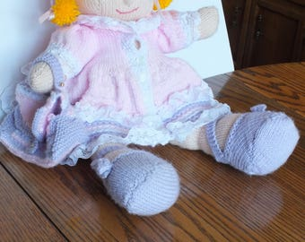 knitted doll with lace
