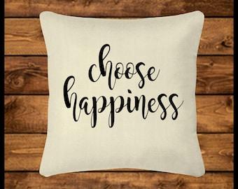CHOOSE HAPPINESS - Burlap-look Canvas Pillow Cover, Throw Pillow, Custom Pillow, Pillow Case, Home Decor, Wedding, Housewarming, Home Gifts