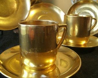 7 Pc Lot Sydney T. Callowhill Art Deco Gold Gilt Pair Demitasse Cups Side Plate Saucers Signed Fine Porcelain Vintage Antique Dishes
